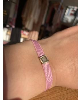 bracelet zag élastique rose pale